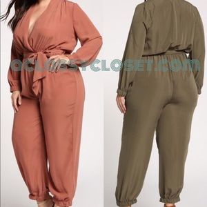 Pants - Curvy Jumpsuit in Moss or Apricot